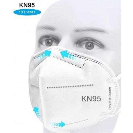 10 Cubrebocas KN95 Mascarilla Certificada Protección FFP2 Respirador
